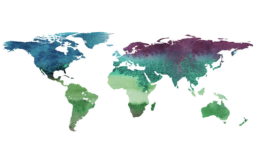 2d Hand Drawn Illustration Of World Map. Painting by Elena Voronina
