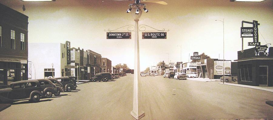Mural Painting - 2nd St. 1930 And Route 66 1950 by Doug Quarles