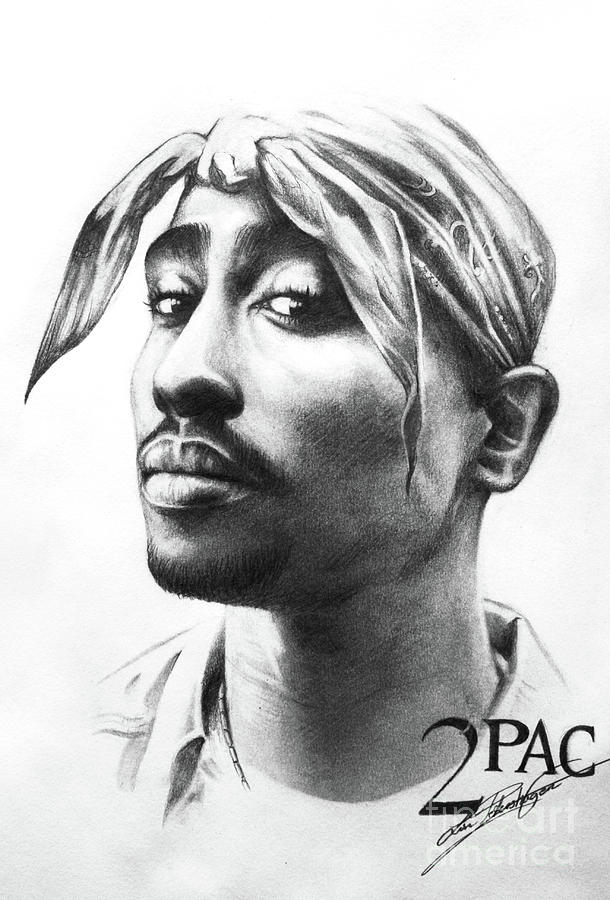2pac Drawing By Lin Petershagen