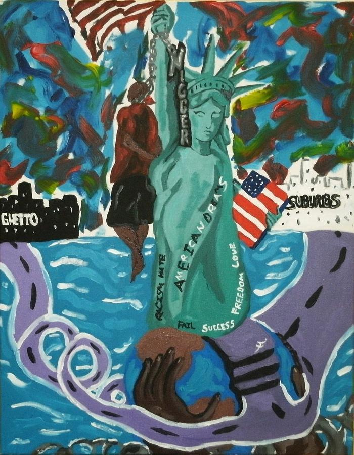 American Painting - 2roads 2 Amerciandreams by Jason JaFleu Fleurant