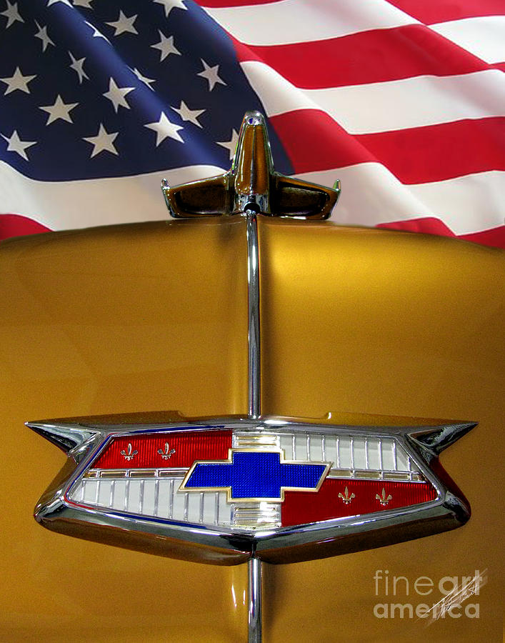 American Flag Photograph - 1954 Chevrolet Hood Emblem by Peter Piatt