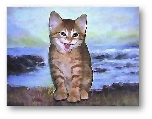 Kittens Mixed Media - A Happy Cat by Brenda Garacci