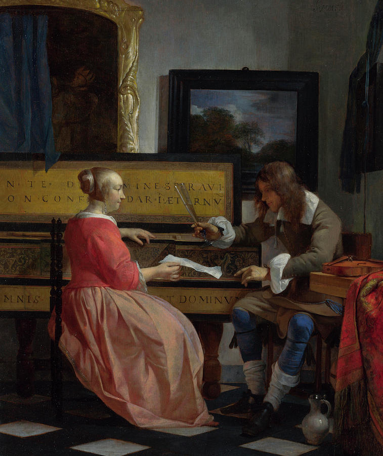 Historical Painting - A Man And A Woman Seated By A Virginal by Gabriel Metsu