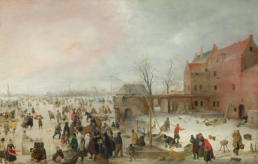 Scenery Painting - A Scene On The Ice Near A Town by Hendrick Avercamp
