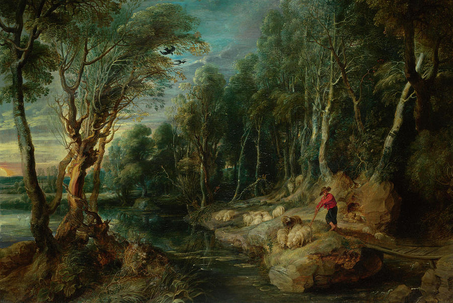 Plants Painting - A Shepherd With His Flock In A Woody Landscape by Peter Paul Rubens