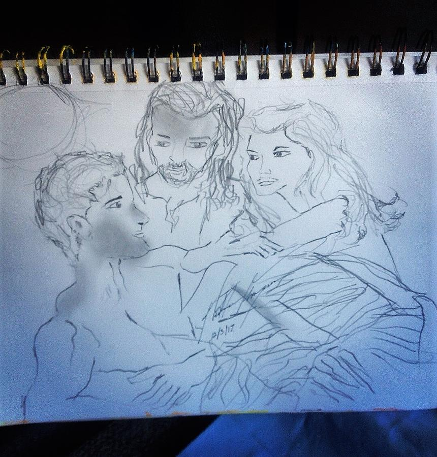 Creation Drawing - Adam Andeve The Creation Story by Love Art Wonders By God