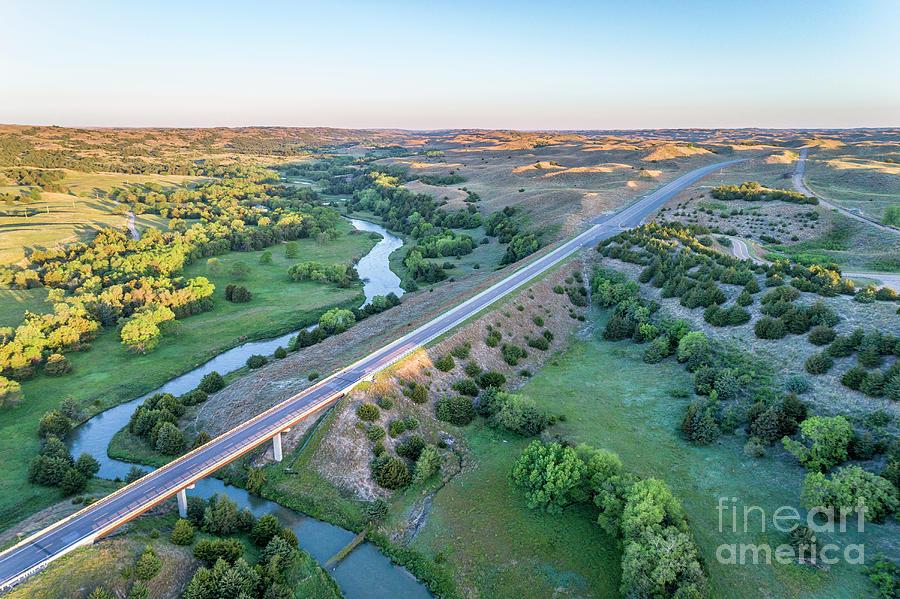 aerial view of Dismal River in Nebraska by Marek Uliasz