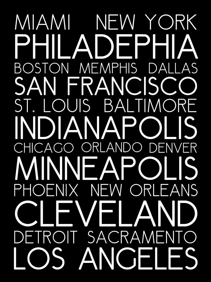 American Cities In Bus Roll Destination Map Style Poster Digital Art