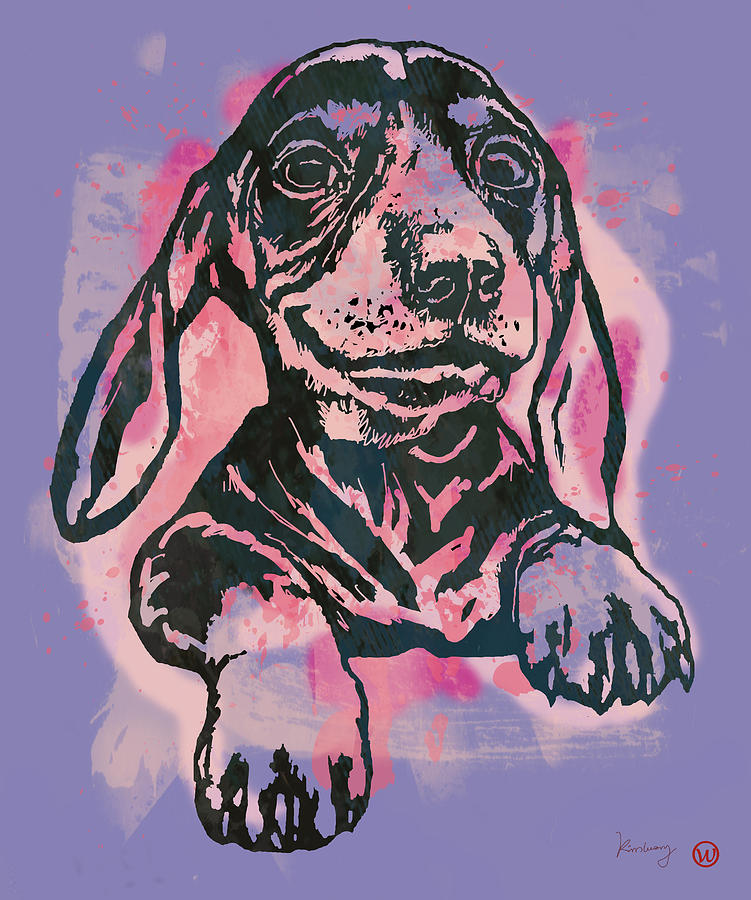 Portraits Drawing - Animal Pop Art Etching Poster - Dog  5  by Kim Wang