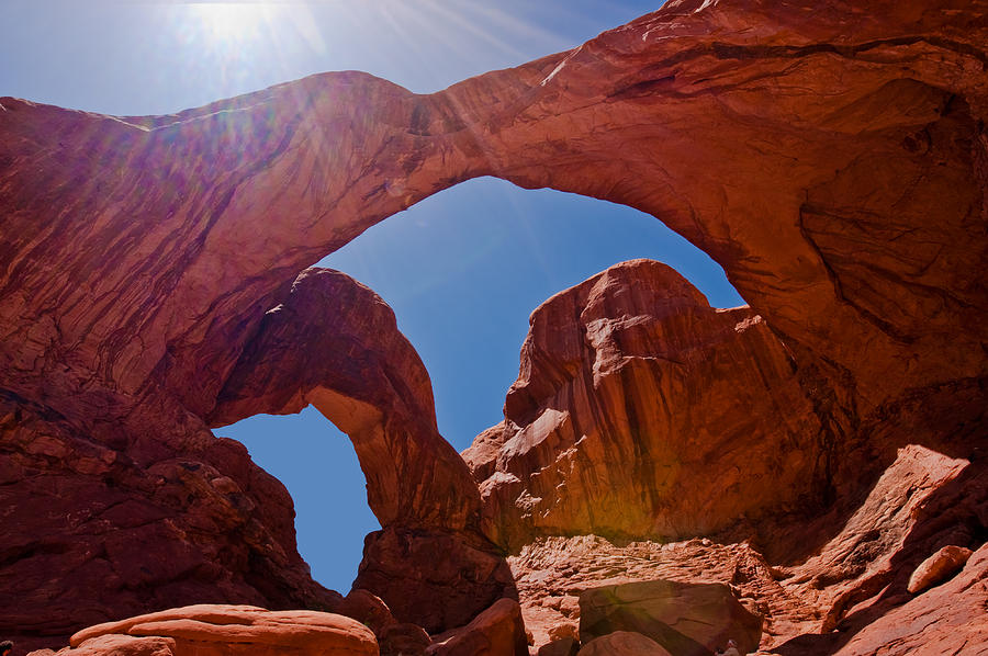Double Arch Photograph - Arches N.p. by Larry Gohl