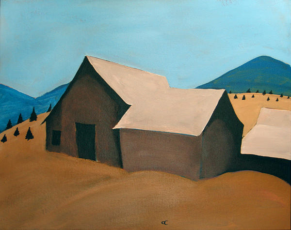 Southern Landscape Painting - 3 Barns by Chris Cook