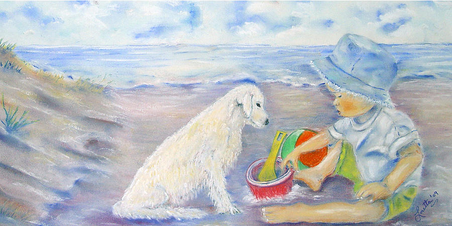 Boy Painting - Beach Boy by Loretta Luglio