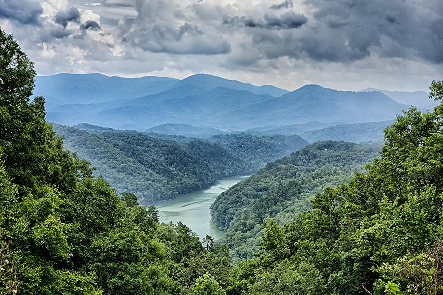 Mountain Photograph - Beautiful Aerial Scenery Over Lake Fontana In Great Smoky Mounta by Alex Grichenko