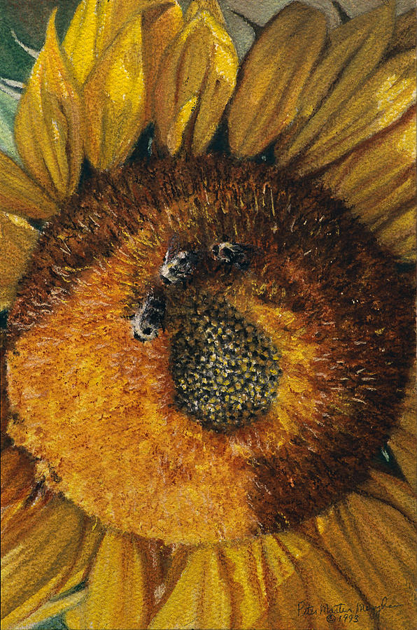Floral Painting - 3 Bees by Peter Muzyka