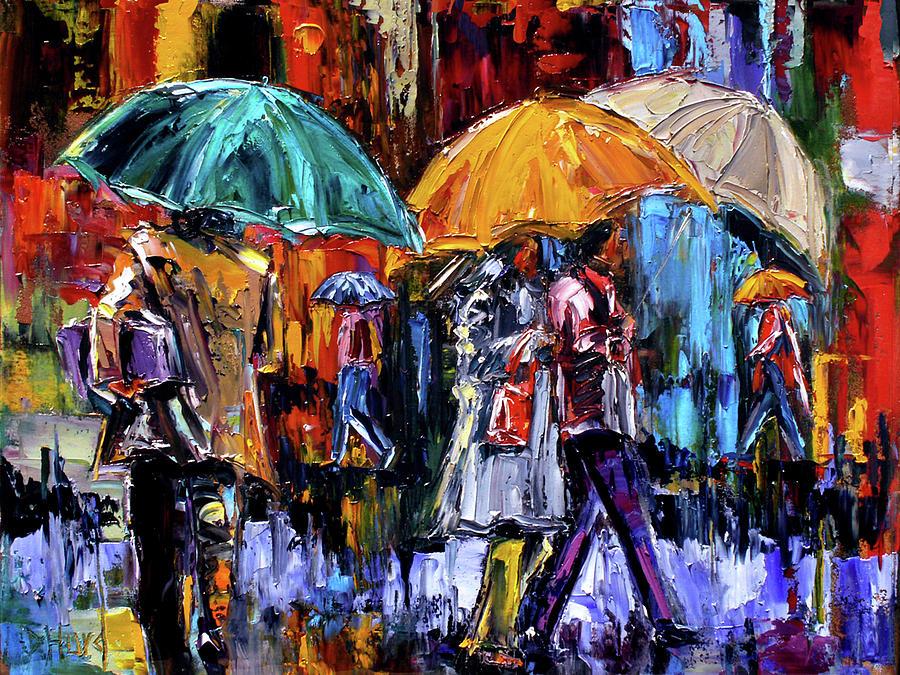 Cityscape Painting - 3 Big Umbrells by Debra Hurd