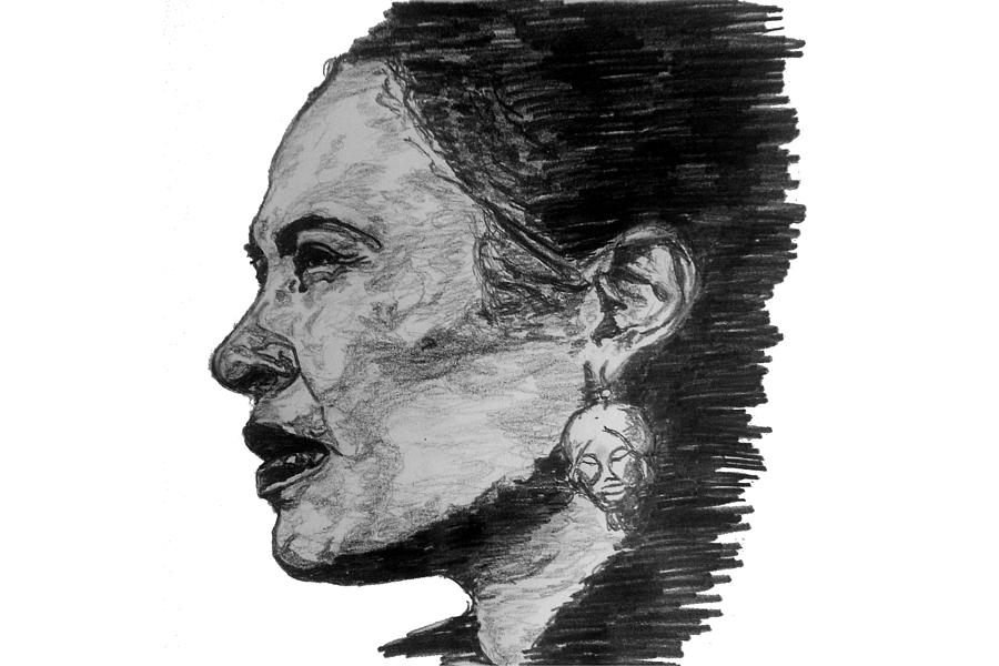 Billie Holiday Drawing - Billie Holiday by Rachel Natalie Rawlins