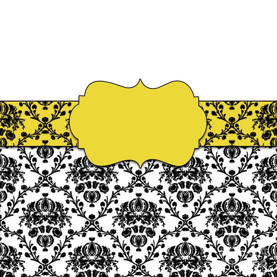 Black And Canary Yellow Damask by Anne Kitzman