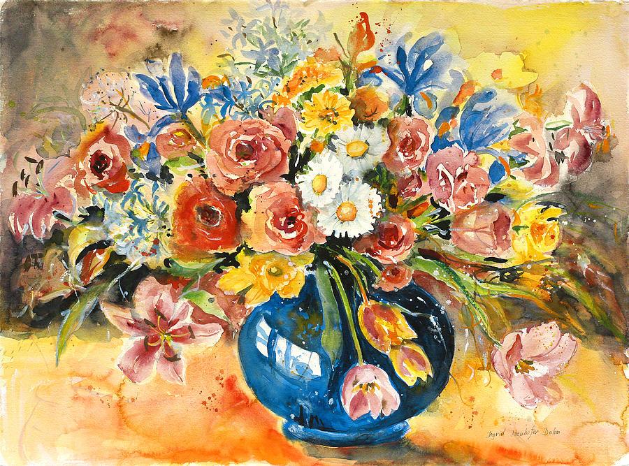 Still Life Painting - Blue Vase by Alexandra Maria Ethlyn Cheshire
