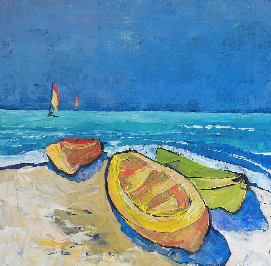 Caribbean Painting - 3 Boats   by Jan Farara