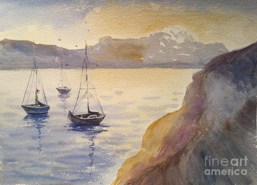 Boats Painting - 3 Boats by Watercolor Meditations