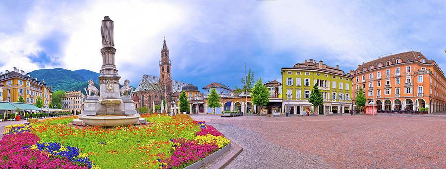 Bolzano Photograph - Bolzano Main Square Waltherplatz Panoramic View by Brch Photography