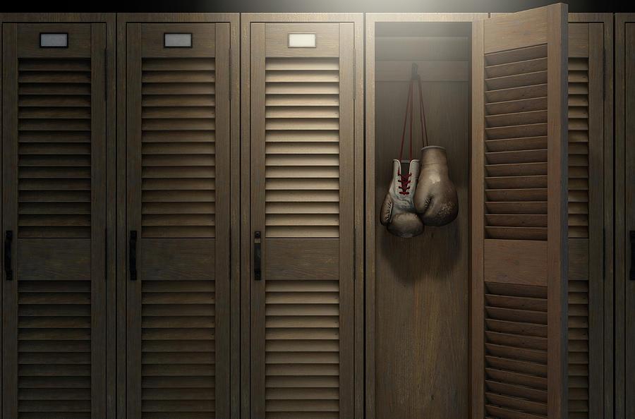 Locker Digital Art - Boxing Gloves In Vintage Locker 3 by Allan Swart