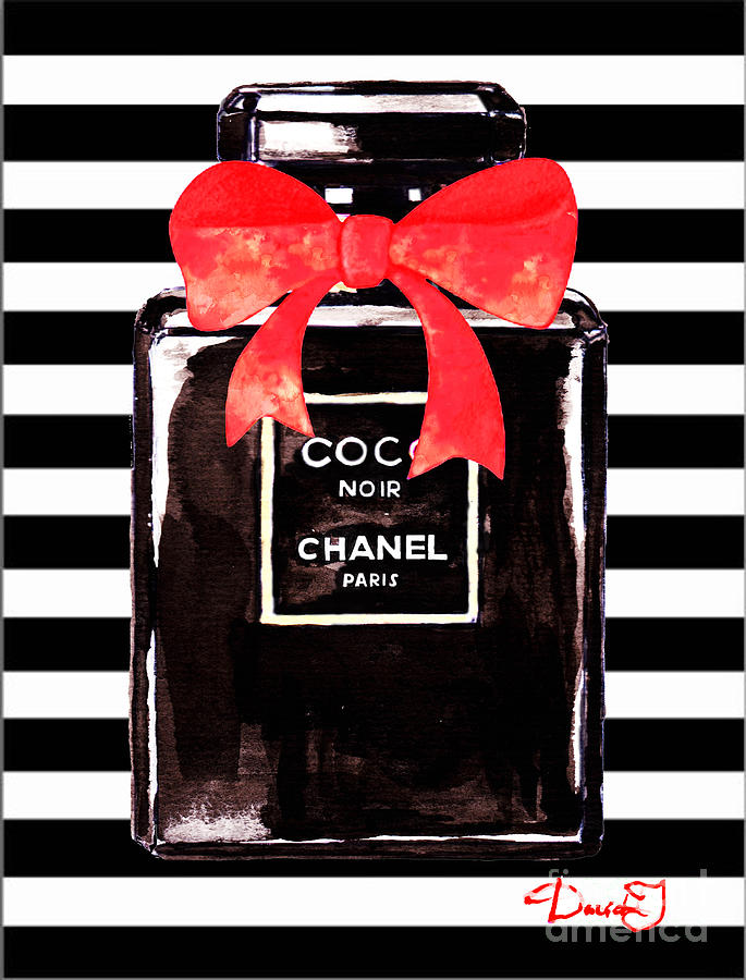 Chanel Noir Perfume Painting by Del Art