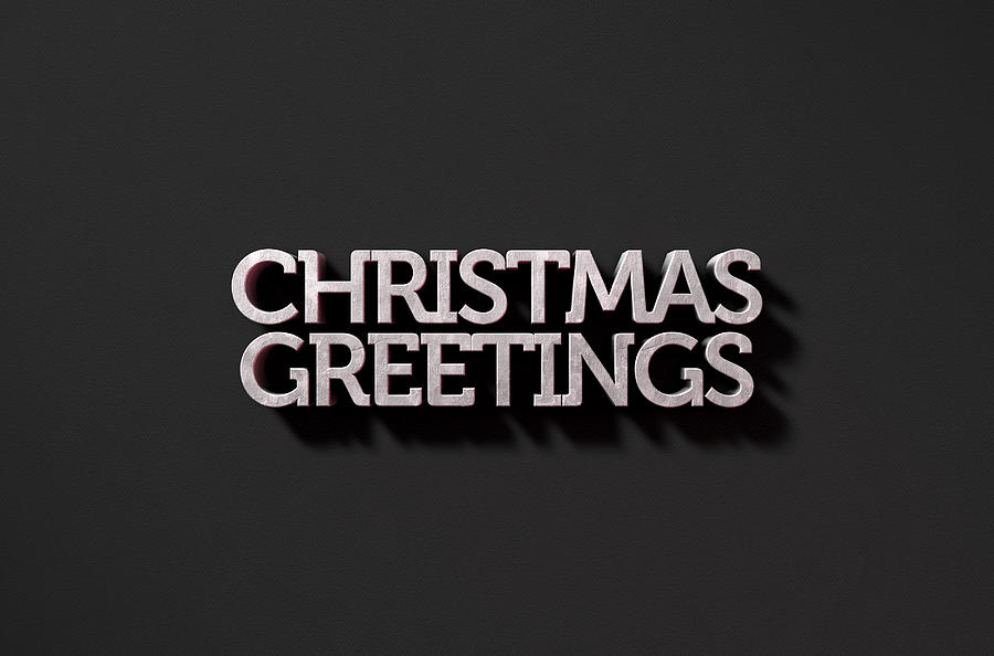 Christmas Digital Art - Christmas Greetings Text On Black by Allan Swart