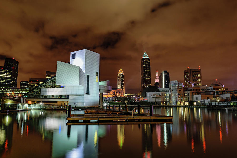 And Photograph - Cleveland Skyline At Night by Cityscape Photography
