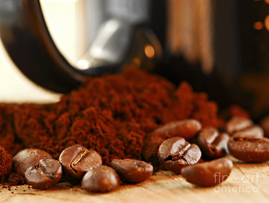 Coffee Photograph - Coffee Beans And Ground Coffee by Elena Elisseeva