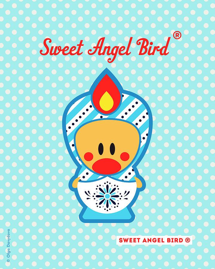 Bird Digital Art - Cute Art - Blue Polka Dot Snowflake Folk Art Sweet Angel Bird In A Nesting Doll Costume Wall Art Print by Olga Davydova