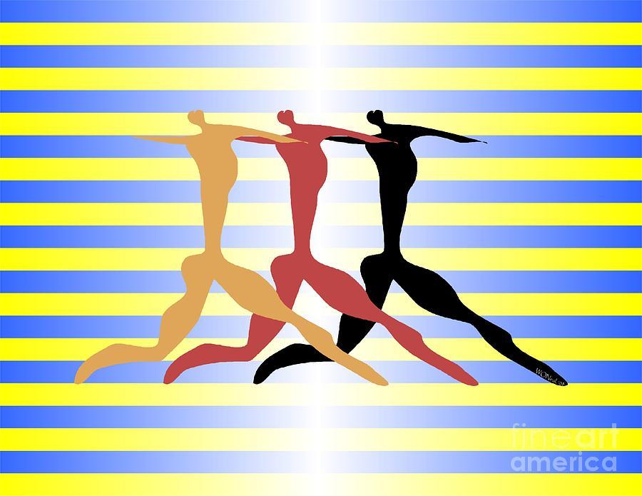 Dance Digital Art - 3 Dancers by Walter Neal