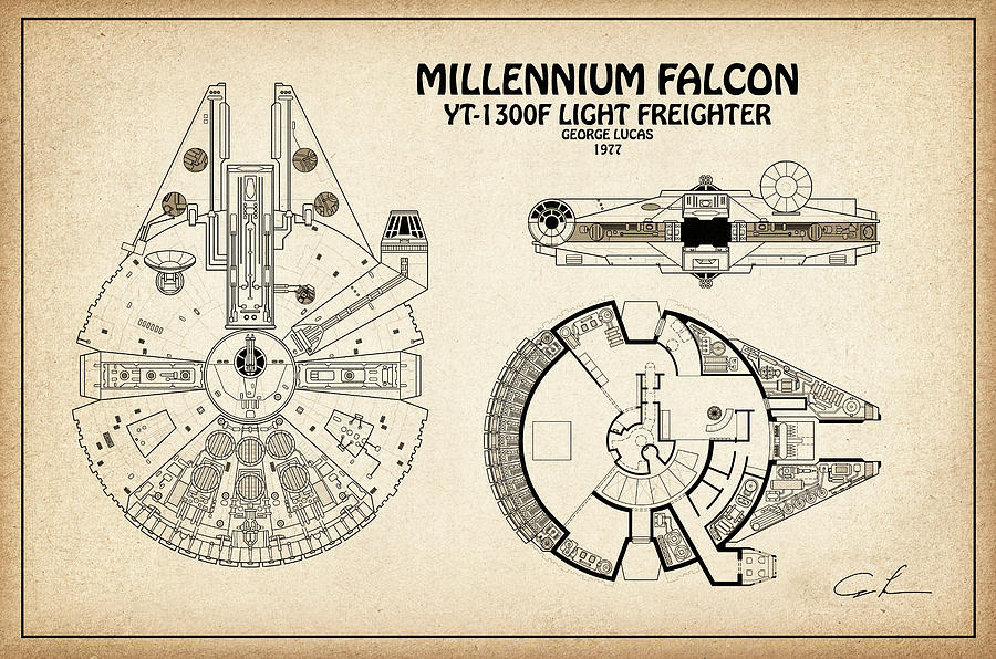 Diagram Illustration For The Millennium Falcon From Star Wars