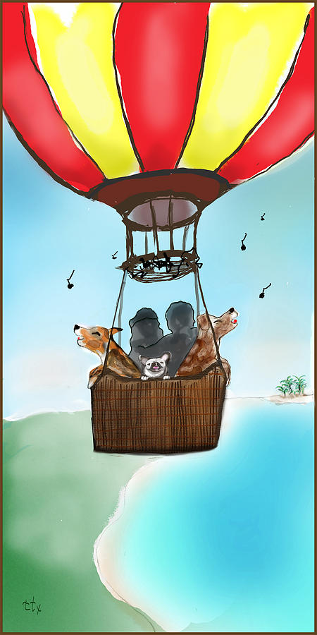 3 Dogs Singing In A Hot Air Balloon by Teresa Epps