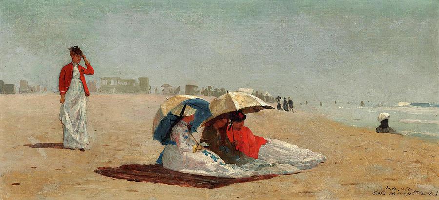 Long Island Painting - East Hampton Beach, Long Island by Winslow Homer