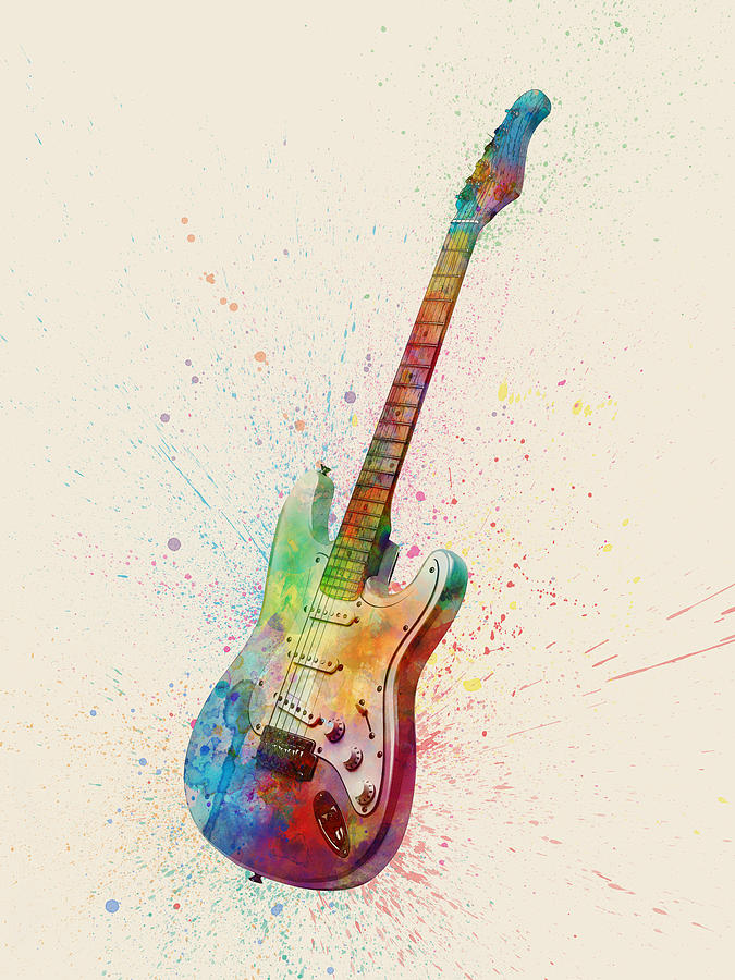 Electric Guitar Abstract Watercolor Digital Art By Michael Tompsett