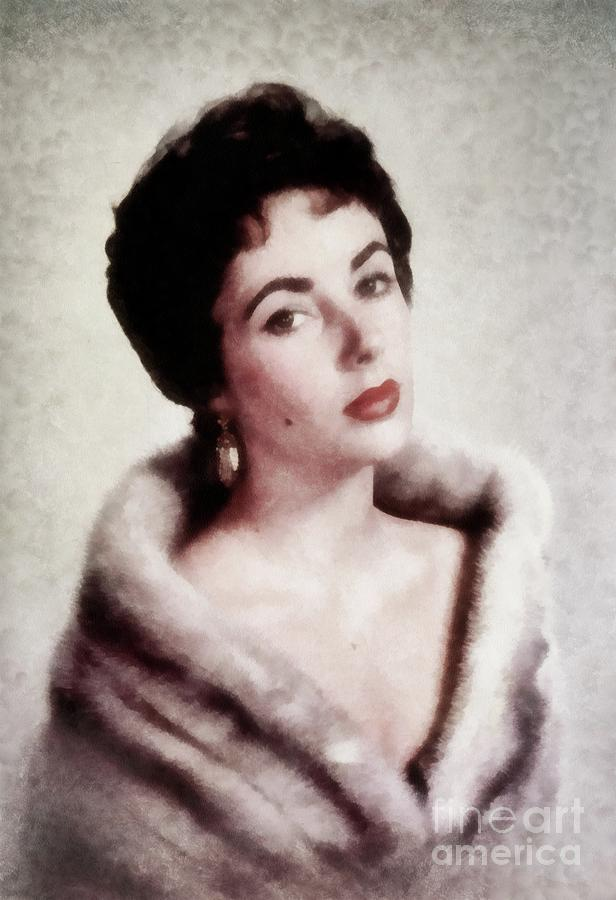 Elizabeth Taylor, Vintage Actress By Js Painting by John Springfield