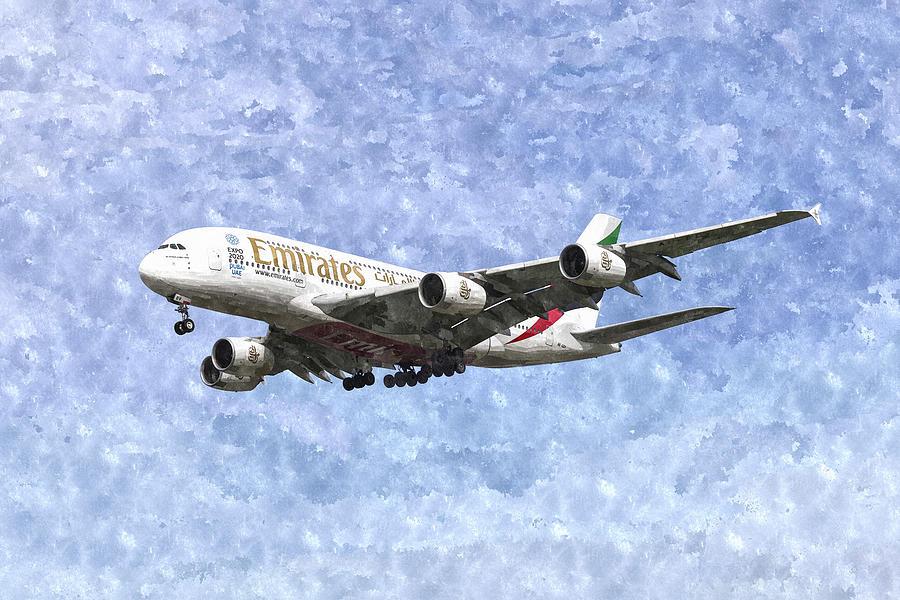 Emirates Airbus A380 Photograph - Emirates A380 Airbus Watercolour by David Pyatt