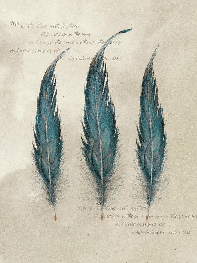 Feathers Drawing - 3 Feathers And Quote by Aga Szafranska