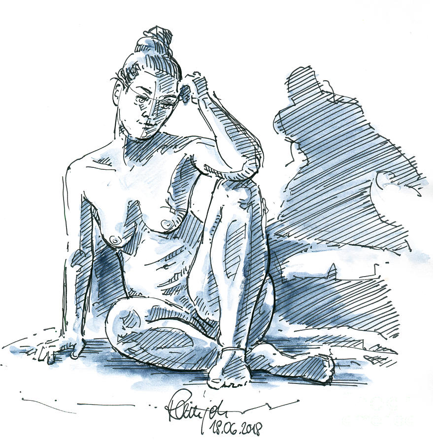 Female figure drawing sitting pose fountain pen ink