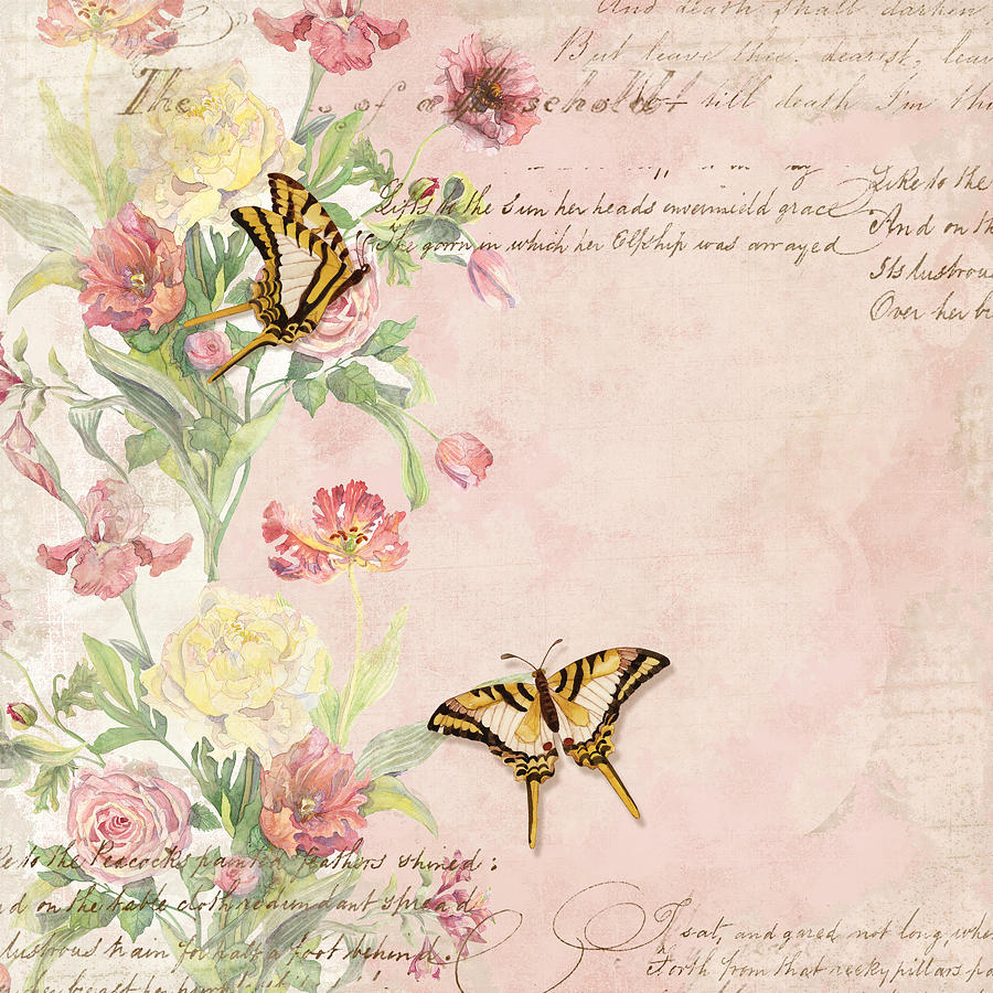 Fleurs de pivoine watercolor w butterflies in a french Fleurs pivoines