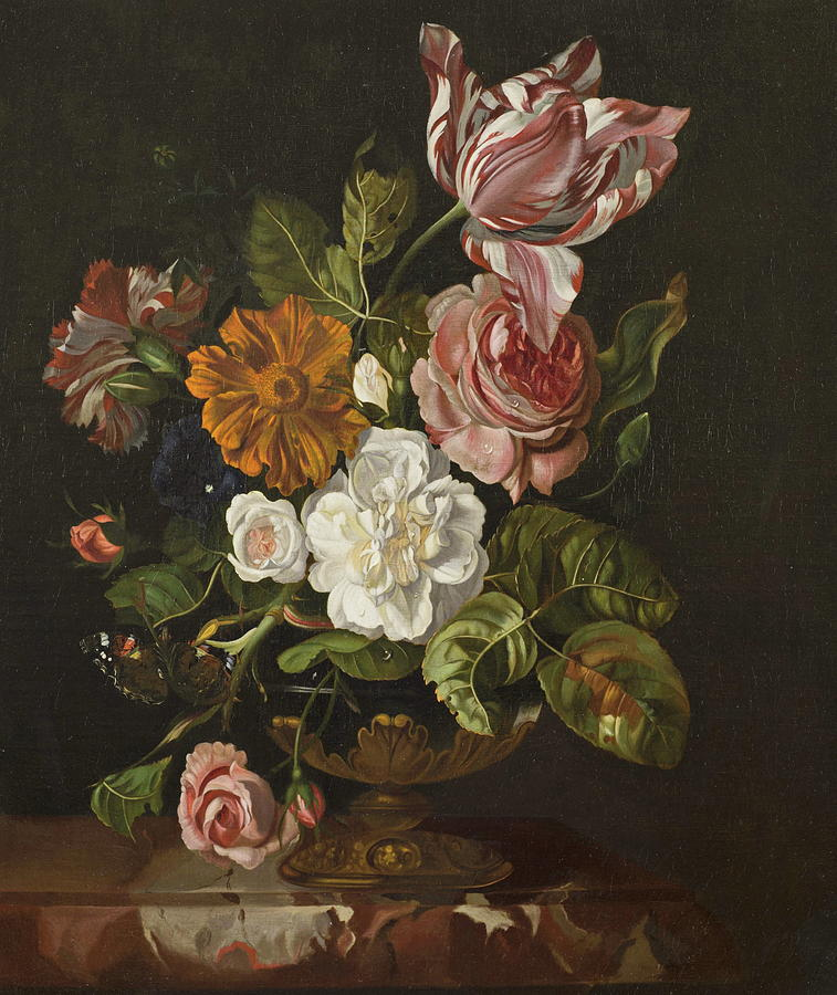 Flowers In A Vase Painting By Rachel Ruysch