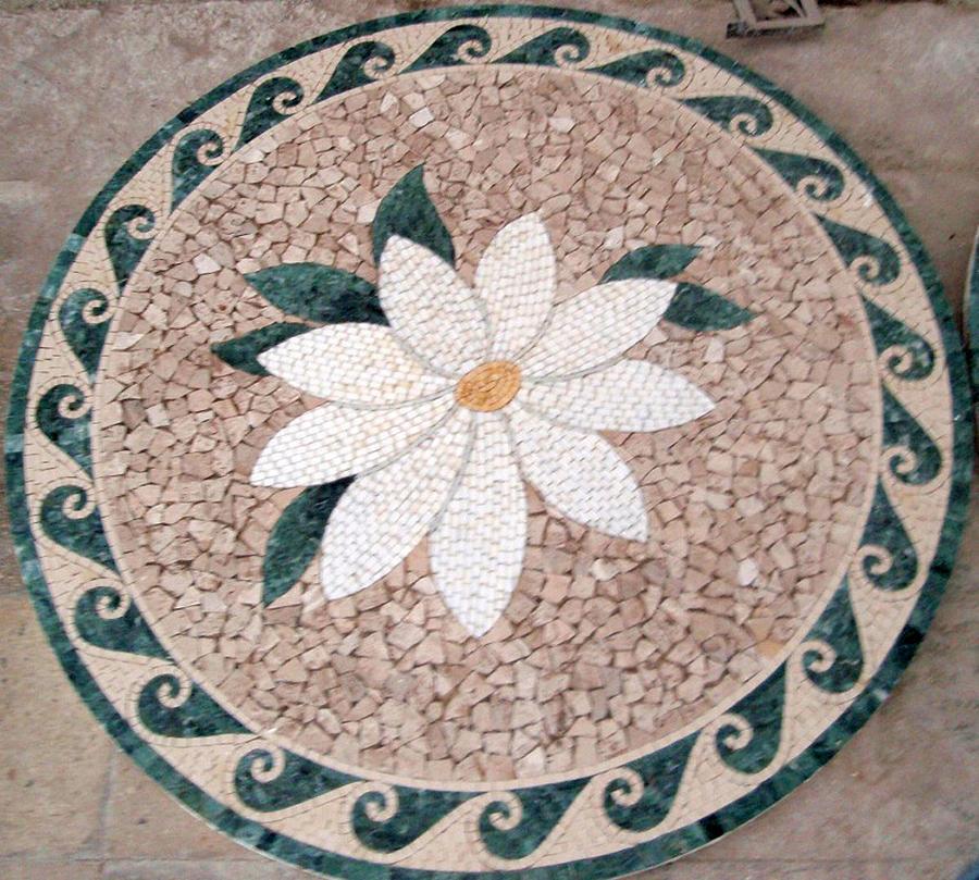 Flowers In Stone Mosaic Relief by Petrit Metohu