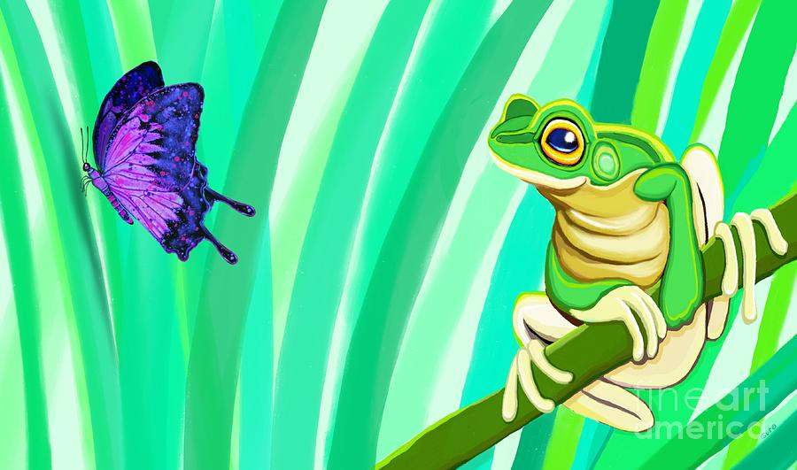 Frog And Butterfly Digital Art