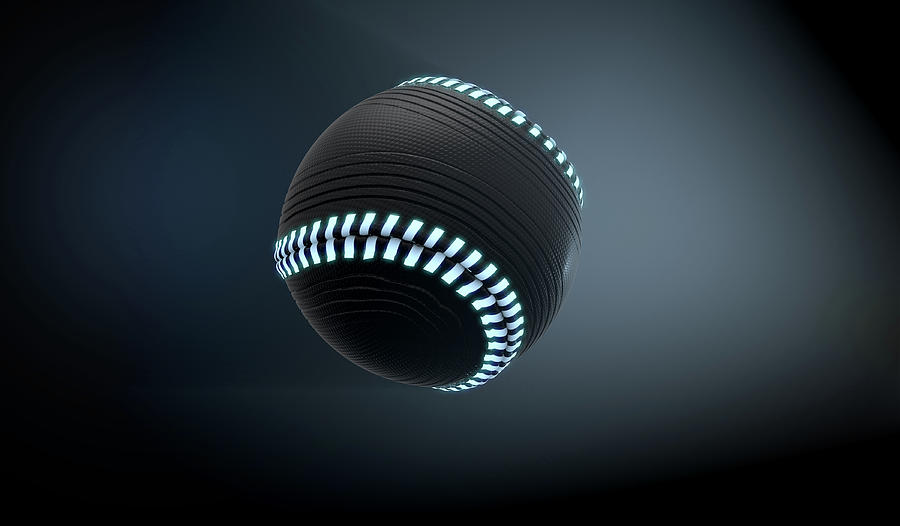 Baseball Digital Art - Futuristic Neon Sports Ball by Allan Swart