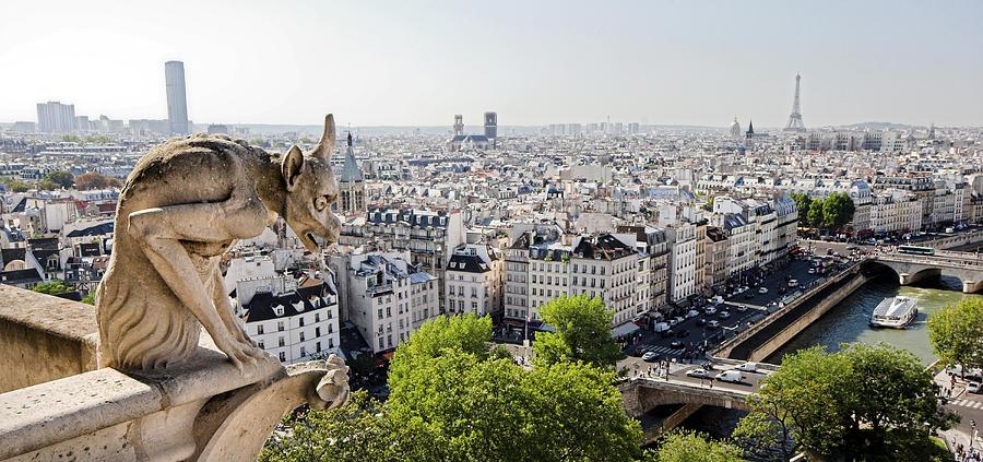 Gargoyle Photograph - Gargoyle Guarding The Notre Dame Basilica In Paris by Pierre Leclerc Photography