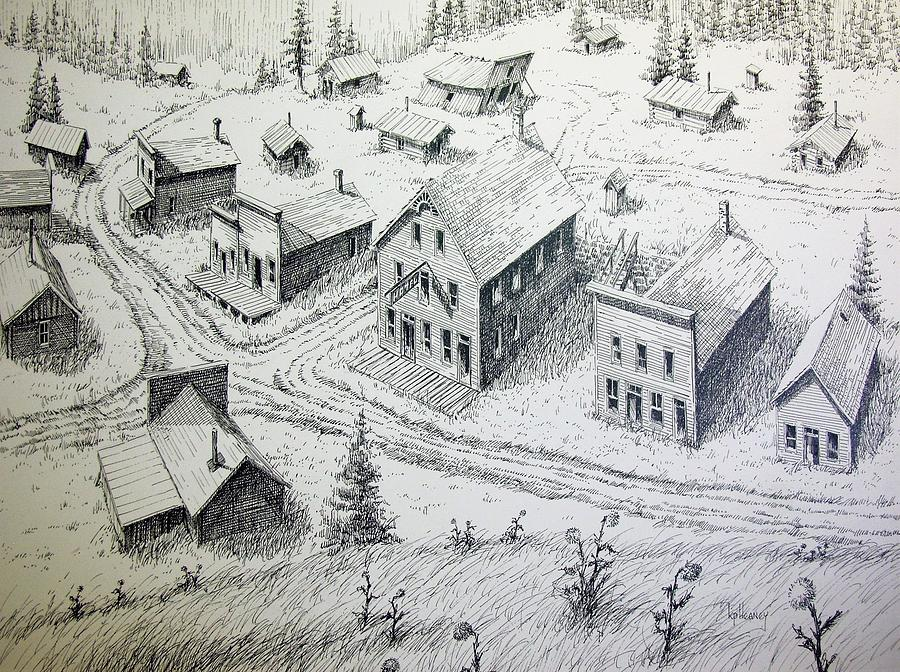 Ghost Town Drawing - Garnet Ghost Town Montana by Kevin Heaney