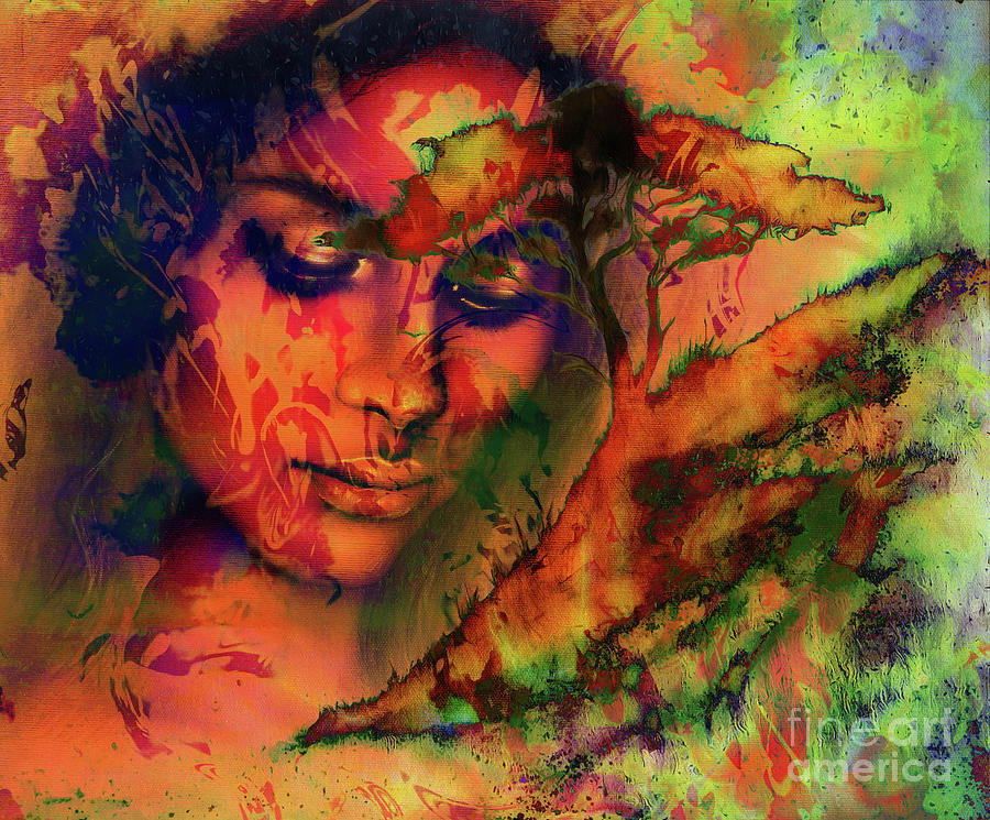 Goddess Woman With Ornamental Face And Tree And Color Abstract Background Meditative Closed Eyes 3