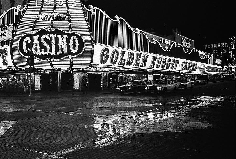 Golden Nugget Casino At Night In The Rain Las Vegas Nevada 1979 Photograph by David Lee Guss