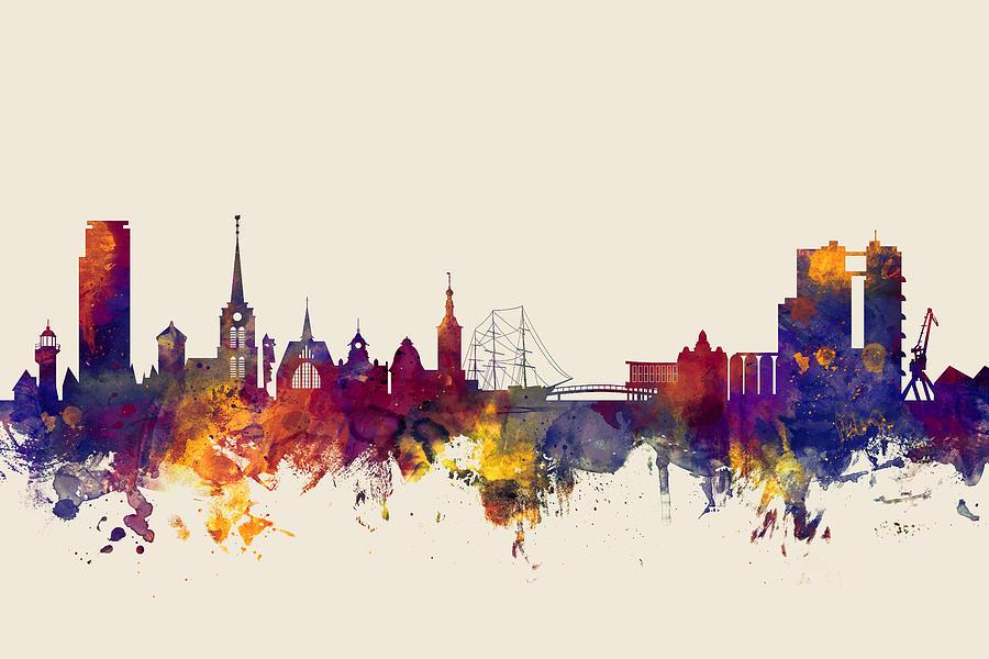 Sweden Digital Art - Halmstad Sweden Skyline by Michael Tompsett